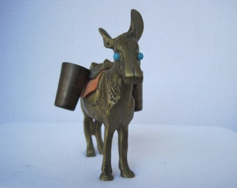 Vintage Brass Donkey Turquoise Eyes Red Blanket Baskets
