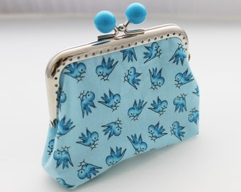Coin purse Sky blue bird print