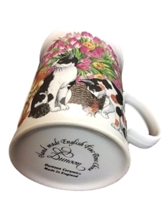 Dunoon Bone China Mug With Cats and Flowers