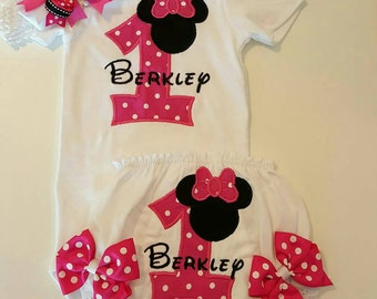 Minnie Mouse personalized First Birthday outfit pack