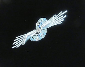 "Blue aurora borealis rhinestone silvertone fringed bar brooch  - 4 1/4"" long and exquisite! -  1980's Statement brooch - Free U.S. Shipping"