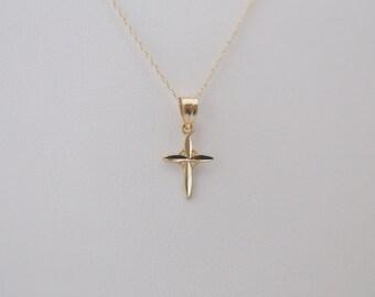 14k Gold Cross Pendant, 14k Gold Cross Necklace