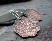 Blooming Copper Earrings // etched flower design on sterling silver ear hooks // artisan metalsmith earrings (3740)