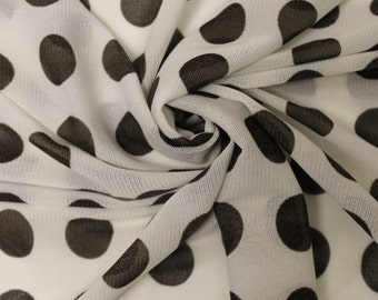 Off White Brown Polka Dot Power Mesh Fabric Style 8041