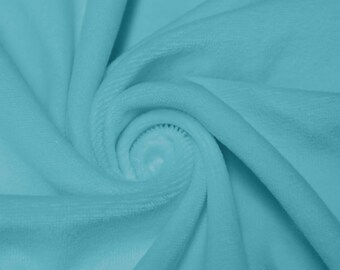 Turquoise Soft Cotton CVC Velour Cotton Polyester Fabric by Yard- Style 9001