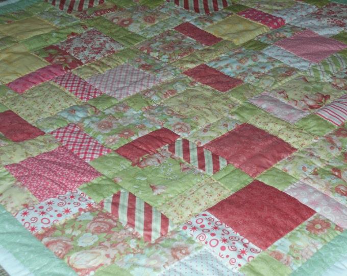 Pink Patchwork Baby Girl Quilt, Toddler Quilt, Modern Baby Quilt or Crib Quilt