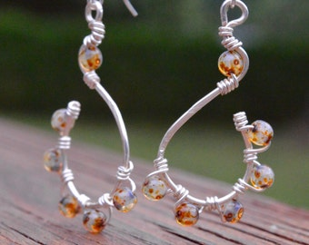 Small Czech Glass Beads and Silver Wire Earrings