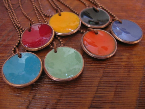 Penny Enameled Colorful Pendants, Penny Necklace, Old Coin Jewelry, Repurposed, Recycled, Lucky Penny, Upcycled, Recycled Copper