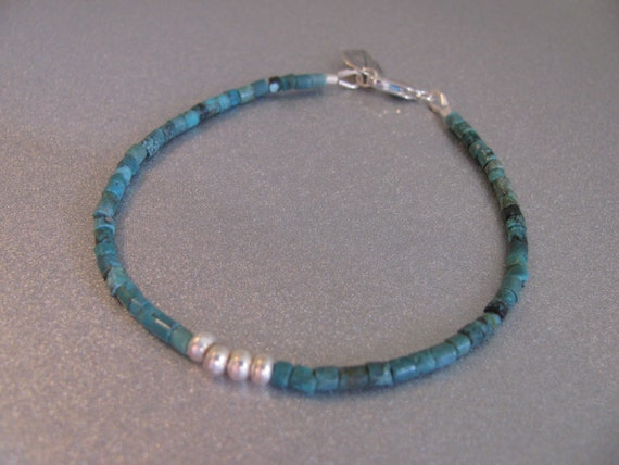 Genuine Turquoise and Karen Hill Tribe Silver Bracelet with Pure Silver Leaf Accent Dangle -ToniRaeCreations