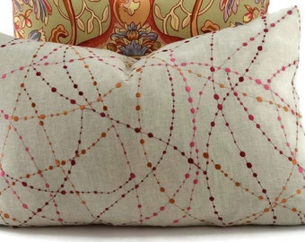 Throw Pillow Cover, Embroidered Linen Pillow Cover, Tan, Red, Pink & Copper Lumbar Pillow Cover, 14x22