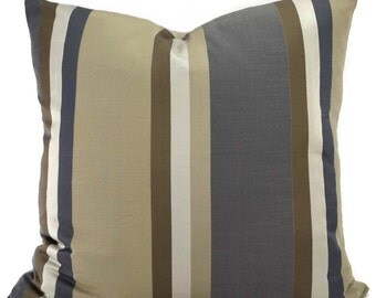 Gray, Silver, Taupe & Brown Woven Stripe Throw Pillow Cover, 20x20 Gray Stripe Pillow Cover