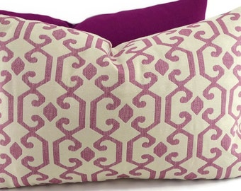 SALE! Fuchsia & Off White Woven Fretwork Design Lumbar Pillow, Moroccan Design Lumbar Pillow Cover, Throw Pillow Cover, 14x22,