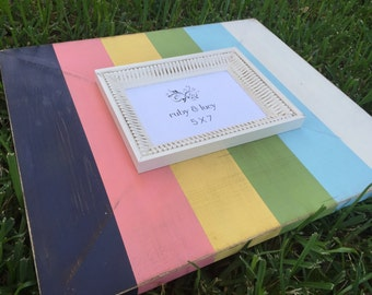 modern wide stripe distressed 5x7 picture frame | gallery wall art | custom wall frame | gift for friend | nursery decor |teen or tween room