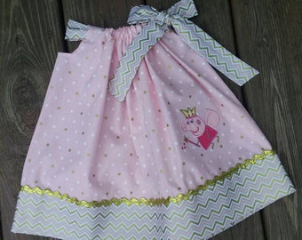 Girls Peppa Pig Pillow Case Dress - Pink and gold