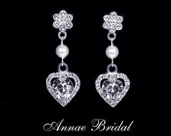 "Bridal earrings, wedding jewelry, White pearl and rhinestone heart earrings, Swarovski, silver, ""Sweetheart"" earrings"