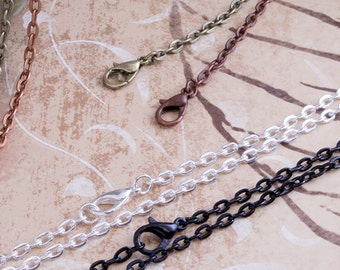 25- 18 inch Craft Charm Necklace Chain - Attached Lobster Clasp - Oval Rolo Link Chain - Chain Supplies - Antique Brass and 4 other colors.