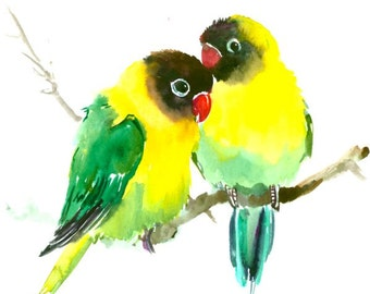"""Masked Lovebirds, 12 X 9 in, original watercolor painting 12"""" X 9"""""""