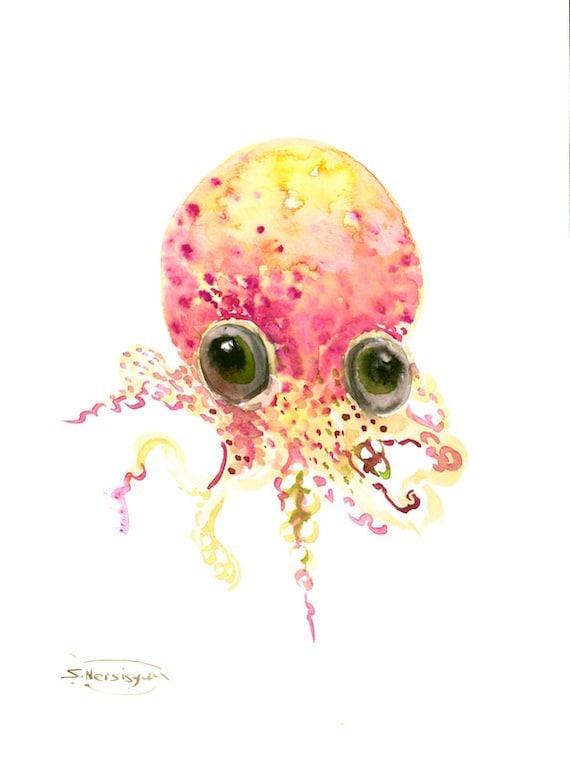 Cute baby octopus art original watercolor painting 12 x 9 in for Cute watercolor paintings