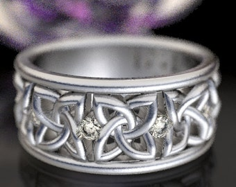 Celtic Wedding Ring with Moissanite Stones in 4 Petal Flower Dara Knot Design in Sterling Silver, Made in Your Size CR-1010