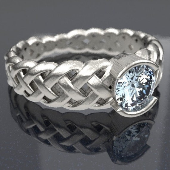 Celtic Moissanite Engagement Ring With Braided Cut-Through Knotwork Design in Sterling Silver, Made in Your Size CR-760