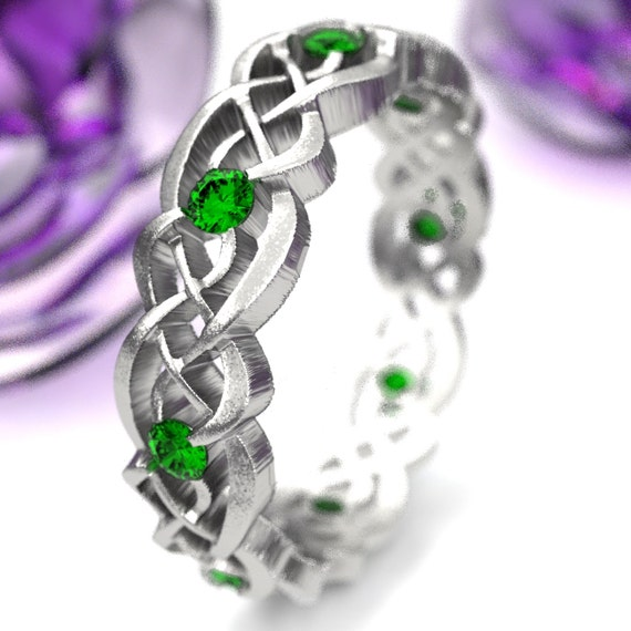 Emerald Eternity Ring, Celtic Infinity Band, Sterling Silver Wedding Band, Budget Wedding Ring, Woven Wedding Ring, Custom Size CR-1044