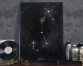 zodiac Scorpio constellation - minimal contemporary astronomy style art print