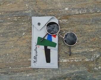 Malevich Glasses Case, Sunglasses case, Hand Embroidered vegan purse, Geometric art case, Malevich