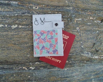 Passport Cover Jasper Johns/ Felt Embroidered Passport Holder/Travel Accessories/Pop Art Passport Wallet