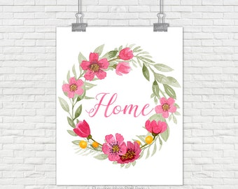 Home sign Home printable home art Home watercolor home Printable home decor housewarming gift Printable art Printable decor