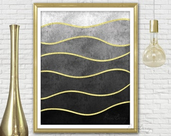 Printable abstract art Wave art Gold foil print Wave print Gold and black decor Black and gold decor Abstract modern art Modern printable