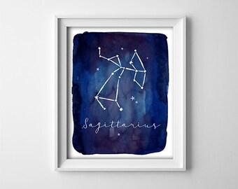"INSTANT DOWNLOAD 8X10"" printable digital art - Dark Blue - Zodiac Sagittarius Sign - Astronomy - Constellation - Nursery- SKU:850"