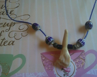 Unusual Unknown Tooth &  Art Glass  Bead Necklace