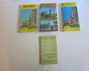 Vintage 1960's Travel Guides Rome Italy London Map