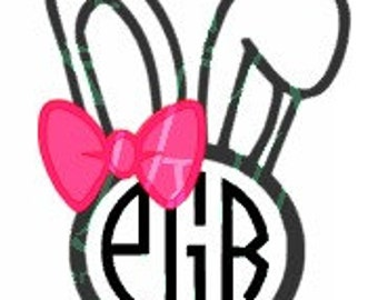 Cute easter bunny svg digital file; perfect for monogramming; optional bow tie or hair bow