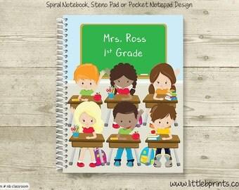 Back to School Teacher Student Classroom Personalized Spiral Notebook Back to School Notebook