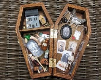 Dr. X's Sanitorium Miniature Coffin Shadow Box