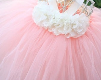 Peach tutu dress, flower girl dress, tutu dress
