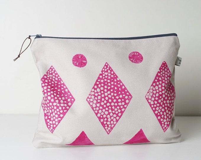 Large Zipper Pouch -  Pink Block