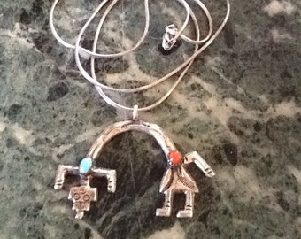 RAINBOW MAN Necklace Old NAVAJO Made