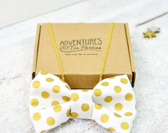 Gold Polka Dot Bow Tie Necklace | Bow necklace | Jewelry | Accessory | Gold Plated | Bridal Party | Wedding Necklace | Gift for her