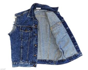 Vintage GUESS Georges Marciano Trucker biker USA blue jean jacket vest size L