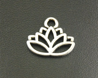 15 Lotus Flower Charms, 17x14mm Antique Silver Tone Lotus Charms Pendant, Lotuses Charms, Flower Charms