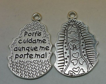 2pcs Virgin Mary Charms, 55x33mm Antique Silver Virgin Mary Charms Pendant