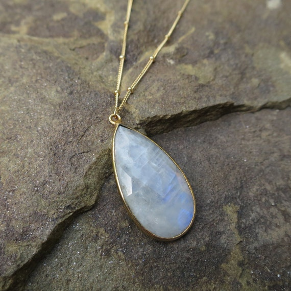 Large Moonstone Pendant, Rainbow Moonstone Necklace, Moonstone Teardrop Pendant, Moonstone Jewelry, Satellite Chain, 14k Gold Filled Chain