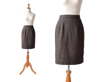 Brown Skirt, Pencil Skirt, Small Skirt, Vintage Skirt, Womens Skirt, XS Skirt, Vintage Clothing, Brown Pencil Skirt