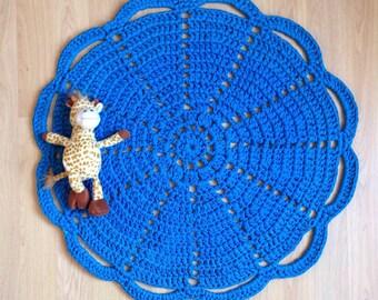 Blue Rug, SALE, Nursery Rug, Eco Friendly, Jersey Yarn, Crochet Doily Rug