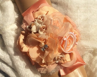 Wedding Corsage-Bridal Corsage-Bride-Mother of Bride-Jewelry Corsage-Peach/Fabric Corsage-Corsage/Bracelet-Wrist Corsage-Prom Corsage/Prom
