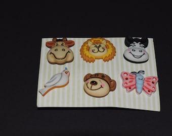 Scrapbook craft embellishment buttons cow lion bear bird butterfly 6 count