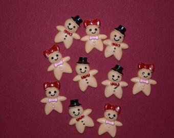 10 Scrapbook craft embellishment Ginger Bread Man Woman flat back multi colors