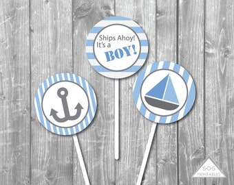 "Nautical Sailboat Baby Shower 2"" Cupcake Topper  - Printable PDF - Instant Download - Immediate Download"